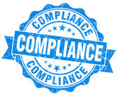 Compliance blue vintage seal isolated on white — Stock Photo