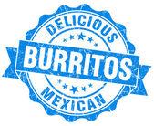 Vynikající burritos modrá vinobraní pečeť izolovaných na bílém — Stock fotografie