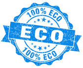 Eco blue vintage seal isolated on white — Stock Photo