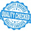 Quality checked grunge blue vintage round isolated seal — Stock Photo