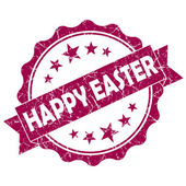 Happy Easter pink vintage round grunge seal isolated on white background — Stock Photo