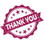 ありがとうピンク ビンテージ ラウンド ホワイト バック グラウンド上に分離されてグランジ シール — ストック写真