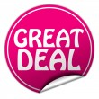 Foto de Stock  : Great deal round pink sticker on white background