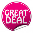 Stock Photo: Great deal round pink sticker on white background