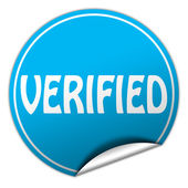 Verified round blue sticker on white background — Stock Photo