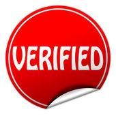 Verified round red sticker on white background — Stock Photo