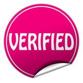 Verified round pink sticker on white background — Stock Photo