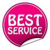 Best service round pink sticker on white background — Stock Photo