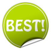 Best round green sticker on white background — Zdjęcie stockowe