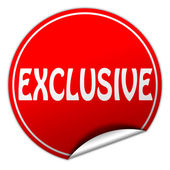 EXCLUSIVE round red sticker on white background — Stock Photo