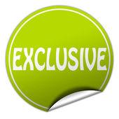 EXCLUSIVE round green sticker on white background — Stock Photo