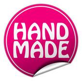 Hand made round pink sticker on white background — Stock Photo
