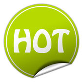 Hot round green sticker on white background — Stock Photo