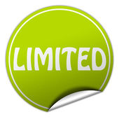 Limited round green sticker on white background — Stock Photo
