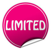 Limited round pink sticker on white background — Stock Photo