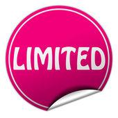 Limitada redonda adesivo rosa sobre fundo branco — Fotografia Stock