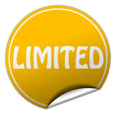 Limited round yellow sticker on white background — Stock Photo