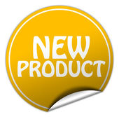 New product round yellow sticker on white background — Stock Photo