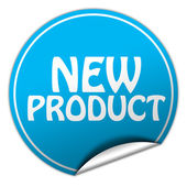New product round blue sticker on white background — Stock Photo