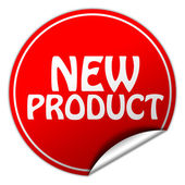 New product round red sticker on white background — Stock Photo
