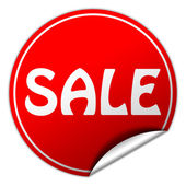 Sale round red sticker on white background — Stock Photo