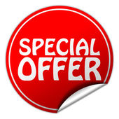 Special offer red sticker on white background — Stock Photo