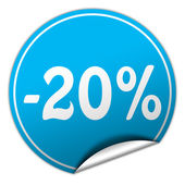 Discount round blue sticker on white background — Stock Photo