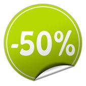 Discount round green sticker on white background — Stock Photo