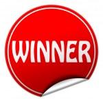 Winner round red sticker on white background — Stock Photo #38417131