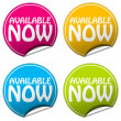 AVAILABLE NOW round stickers set on white background — Stock Photo #38417241