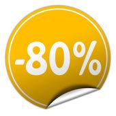 Discount round yellow sticker on white background — Stock Photo