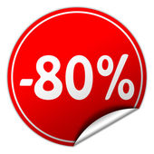 Discount round red sticker on white background — Stock Photo