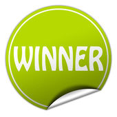 Winner round green sticker on white background — Stock Photo