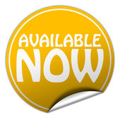 AVAILABLE NOW round yellow sticker on white background — Stock Photo