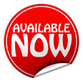 AVAILABLE NOW round red sticker on white background — Stok fotoğraf