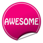 AWESOME round pink sticker on white background — Stock Photo