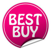 BEST BUY round pink sticker on white background — Stock Photo