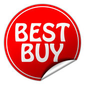 BEST BUY round red sticker on white background — Stock Photo