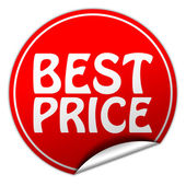 Best price round red sticker on white background — Stock Photo