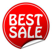 Best sale round red sticker on white background — Stock Photo