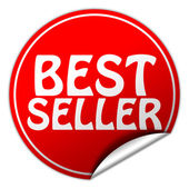 Best seller round red sticker on white background — Stock Photo