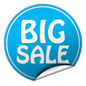 Big sale round blue sticker on white background — Stock Photo