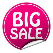 Big sale round pink sticker on white background — Stock Photo