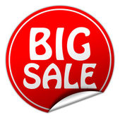 Big sale round red sticker on white background — Stock Photo