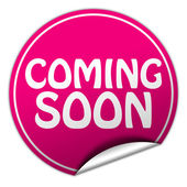 Coming soon round pink sticker on white background — Stock Photo