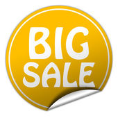 Big sale round yellow sticker on white background — Stock Photo