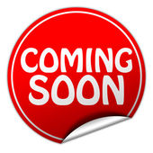 Coming soon round red sticker on white background — Stock Photo