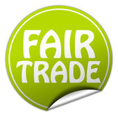 FAIR TRADE round green sticker on white background — Stock Photo