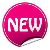 Nueva ronda pegatina rosa sobre fondo blanco — Foto de Stock