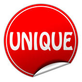 Unique round red sticker on white background — Stock Photo